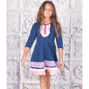 JELLY THE PUG Blue Ruffle Lucy Dress Size 4t